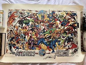 MARVEL Comics LIMITED Avengers LITHOGRAPH 1994 Signed $249.99