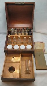 RARE 1900#x27;s Antique Apothecary Cabinet Glass Jars Wooden Doctors Pharmacy Box $795.00