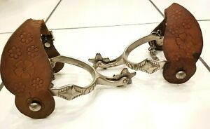 Vintage Cowboy Western Spurs Tooled Leather Straps Chains and Details