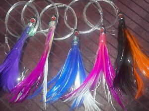 Tuna Feathers 4 inch 5 Pcs Saltwater 1 4 oz Offshore Trolling Lures Mahi