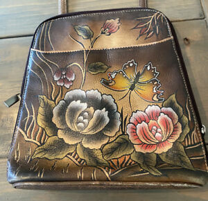BIACCI Leather Hand Painted Crossbody Bag Floral Butterflies Wearable Art $23.99