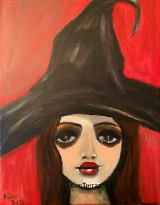 Portrait painting original art Something Wicked sexy glamour erotica woman $200.00
