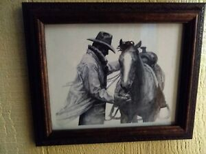 Framed W.H. Ford Lithograph of Cowboy and Horse Marlboro print quot;Partnersquot; 1995 $19.50
