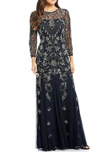 Adrianna Papell Beaded Illusion 3 4 Sleeve Gown Size 6 New; MSRP $329 $119.00