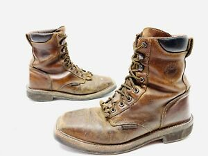 """Justin Work Boots WK682 8"""" Pulley Steel Toe Brown Leather Stampede Size 9 D"""