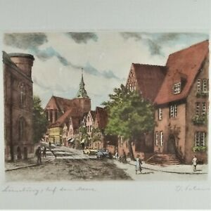 Lithograph of a European Street Scene Cathedral People Cars $12.99