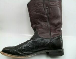 Justin Boots Style 2198 Burgundy And Black Mens Size 8 B