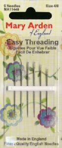 MARY ARDEN Easy Threading Hand Sewing Needles # MA11448 size 4 8 pkg of 6 NEW $2.00