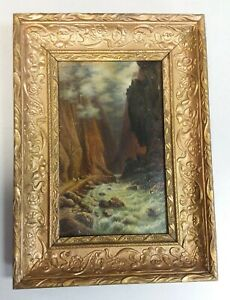 Antique painting of a Roaring River and Canyon with Men on Horseback PIROSHKOV $500.00