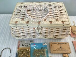 Vintage DRITZ WICKER SEWING BASKET With Vintage Sewing Supplies $29.99