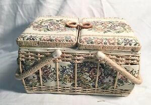Vintage Woven Wicker Sewing Basket Box w Floral Padded Fabric Top $29.95