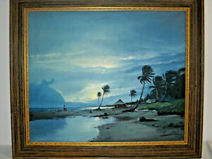 Vintage Tropical Palm Tiki Island Seascape Painting 26quot;X22quot; Signed Framed 1965 $345.00