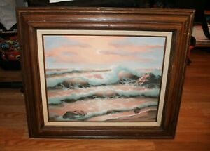 DOROTHY WARR quot;PEACHES AND CREAMquot; ORIGINAL OIL ON CANVAS SEASCAPE PAINTING 1980 $799.90