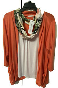 Notations Women 2X Coral Sweater W Scarf