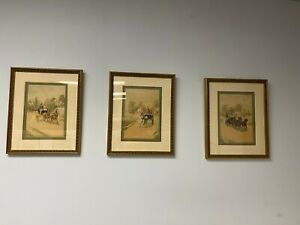 3 Antique 1800#x27;s Framed Colored Lithographs of Horse and Carriage by C.A. Fesch $60.00