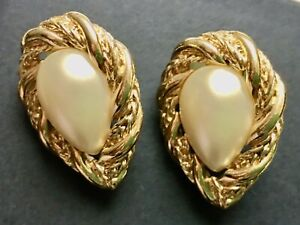 Monet Vintage Signed Twisted Goldtone Marquise Faux Pearl Pierced Earrings 1x3 4 $19.70