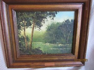 Vintage Original Framed Oil Painting on board Forest River scene 8quot; x 10quot; $39.95