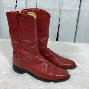 Justin Red Leather Western Cowboy Roper Boots Women#x27;s Size 7 Round Toe