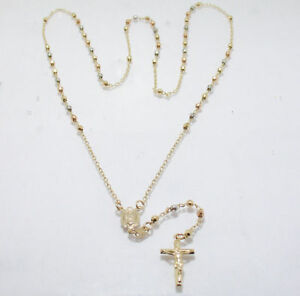 ROSARY NECKLACE CROSS 14K Yellow Rose White Gold 26