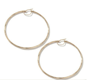 LARGE TWISTED HOOP EARRINGS 14K YELLOW GOLD 4.5gr 1.75