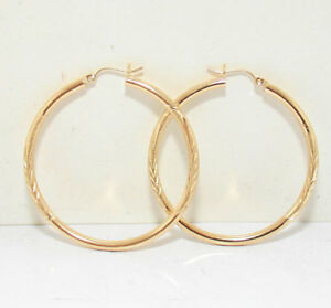Diamond Cut Sparkly Hoop Earrings 14K Yellow Gold 2
