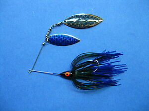 38 oz Spinner Bait blacBlue tip bass musky pike jig tackle lure lot T38Wpr-202
