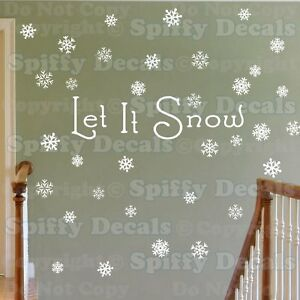 LET IT SNOW OVER 60 SNOWFLAKES CHRISTMAS HOLIDAY WINTER Vinyl Wall Decal Sticker