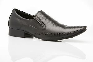 NEW MENS AUSTRALIAN DESIGN ZASEL DRESS BLACK LEATHER LOAFERS FORMAL SHOES LISH