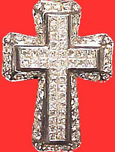 18K GOLD 10 CT CARAT DIAMOND HOLY BIBLE CROSS + 18K GOLD DIAMOND TENNIS NECKLACE