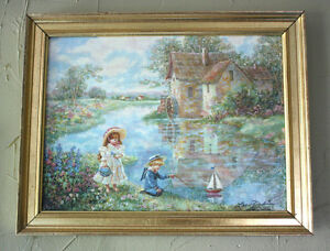 Lee Dubin Victorian Painting Ship Ahoy $225.00