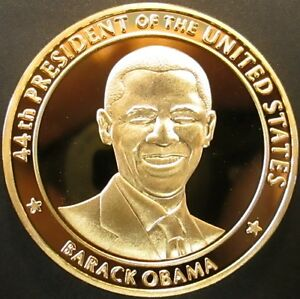 Barack Obama 44th U.S. President 56th Presidential Inauguration golden medallion