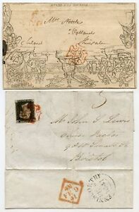 RARE 1840-41 Irish protest use of upside-down Mulready and 1d black on cover