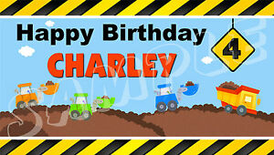 Construction Vehicle Birthday Banner Personalized Custom Design Indoor Outdoor