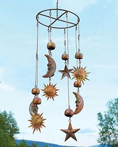 Sun Moon Stars Celestial Hanging Mobile Metal Wind Catcher Chime Copper Patina $47.90
