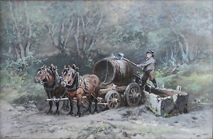 AUGUST SPECHT Signed Gouache Painting Horses and Wood Barrel $399.00