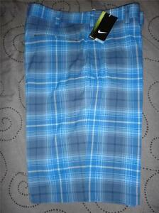 NIKE GOLF TOUR PERFORMANCE DRY FIT PLAID SHORTS MENS NWT $70.00