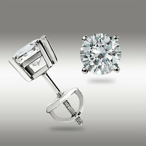 .50 Ct Stud Earrings 14K White Gold Round Cut Basket Set Screw back Pierced