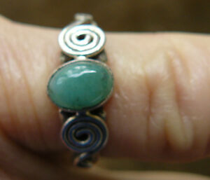 Emerald Sterling Silver Ring All Natural Gemstone varied sizes $12.65