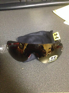 Under Armour Split Sunglasses Satin Silver Red w Flash Bronze Lenses
