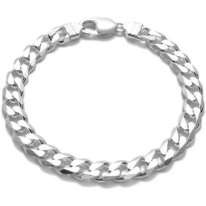 925 Sterling Silver Men's Flat Cuban Link Chain Bracelet 9mm (250 Gauge)
