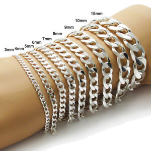 925 Sterling Silver Cuban Link Chain Bracelet (All Widths and Lengths)