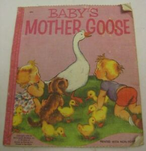 old cloth child book baby mother goose nursery