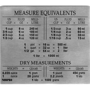 New Stainless Steel Measure Equivalents Refrigerator Magnet US Metric Reference