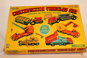 1950 tin construction vehicle set with box