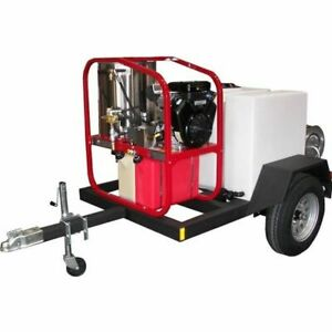 Hot2Go Professional 4000 PSI (Gas - Hot Water) Pressure Washer Trailer w Hon...