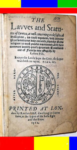 1562 Antique 16th C Early-English THE REFORMATION JOHN CALVIN Laws Legal Bible