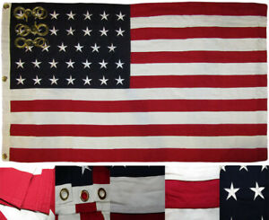 3x5 Embroidered Sewn 34 Star Linear Great Union USA 100% Cotton Flag 3'x5' Clips