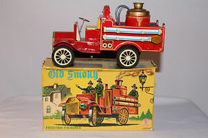 1920 s old smoky firetruck tin friction
