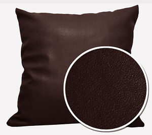 Pb323a Chocolate Brown Faux Leather Skin Soft PU Cushion Cover Pillow Case Size