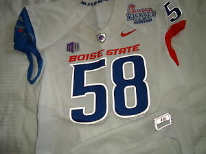 ASH # 58 BOISE STATE BRONCOS NIKE PRO COMBAT GAME USED JERSEY !